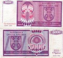 CROATIA 5000 Dinara 1992 Knin - Croatia