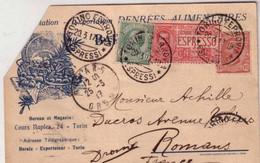 ITALIE - 1917 - CARTE COMMERCIALE PAR EXPRES De TURIN  Pour ROMANS (DROME) - - 1900-44 Victor Emmanuel III.