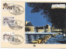 1994 - 2579HK GEORGES SIMENON ET PONTDES ARCHES  - AVEC SUISSE ET FRANCE - COTE 32,50 EURO - Cartes Souvenir