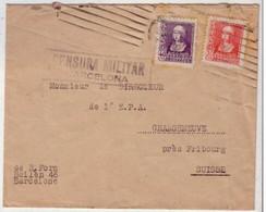 ESPAGNE - 1939 - LETTRE De BARCELONE Pour GRANGENEUVE Près FRIBOURG (SUISSE) - CENSURE De BARCELONE - Marcas De Censura Nacional
