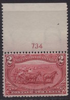 USA 1898. Scott 286. Pair Margin & Plate Number. MNH. **. - 1847-99 General Issues