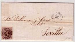 ESPAGNE - 1869 - LETTRE De BARCELONA Pour SEVILLA - ISABELLE II - 1868-70 Gobierno Provisional