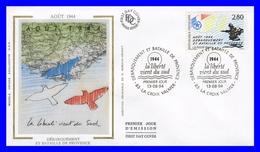 2895 (Yvert) Sur FDC Illustrée Sur Soie La Croix-Valmer Débarquement Et Bataille De Provence-Août 1944 - France 1994 - FDC