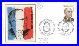 2344 (Yvert) Sur Enveloppe Premier Jour Illustrée Sur Soie - Hommage Au Président Vincent Auriol - France 1984 - FDC