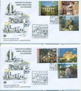 United Nations Unies Vienna 2002 2 FDC Set Complete Serie Courante Definitive Statue Cheval Horse Chemins De Fer - FDC