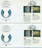 United Nations Unies Vienne 11 November 1992 2 FDC Human Rights Droits Homme Fernand Leger Georges Seurat ONU - FDC