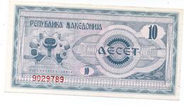 MACEDONIA NOTE 10 DINAR 1992 UNC - Macedonia