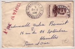 MADAGASCAR - PAR AVION - 1954 - MINI - LETTRE De TANANARIVE Pour HOUILLES (78) - Madagascar (1889-1960)