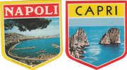 PO0948A - Gagliardetti Ricordo Adesivi NAPOLI E CAPRI Anni '60 - Scudetti In Tela