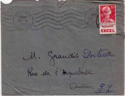 """1957 - TYPE MULLER - TIMBRE ISSU De CARNET Avec PUB """"MARGARINE EXCEL"""" Sur LETTRE De NICE Pour AUTUN - 1955- Marianne (Muller)"""