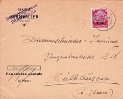 Alsace Elsass Bernwiller Bernweiller Haut Rhin  1941 Occupation Allemande Franchise Postale - Allemagne