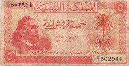 LIBYA  1952 5 PIASTRES NOTE KING IDRIS *RARE* - Libya