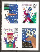USA. Scott # 2799-2802 MNH Pane Of 4 From Booklet.  Christmas 1993 - Navidad