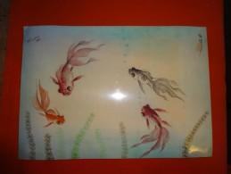 Peinture Sur Soie Signature Et Cachet- 1955 - Possons Chinois - Format 31 X 21.6 Cm - Art Asiatique