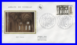 2255 (Yvert) Sur Enveloppe Premier Jour Illustrée Sur Soie - Série Touristique Abbaye De Noirlac - France 1983 - FDC
