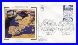 2292 (Yvert) Sur Enveloppe Premier Jour Illustrée Sur Soie - Météorologie Nationale - France 1983 - 1980-1989