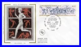 2314 (Yvert) Sur FDC Illustrée Sur Soie - Jeux Olympiques D´été à Los Angeles Anniversaire Du C.I.O. - France 1984 - FDC