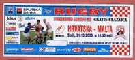 RUGBY - European Championships B2 CROATIA - MALTA In Split 2009. * Match Ticket Billet (Fokus , Tuborg , Gorenje ... ) - Rugby