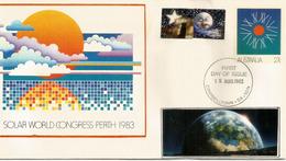 Congrès Mondial Solaire A Perth. Un Entier Postal Australien De 1983. Oblitération Premier Jour - Astronomy