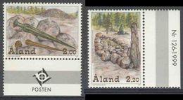 "Aland 1999 Mi 153 /4 YT 149 /0 ** Bronze Age Relics / Bronzezeit - Sword, Dagger (Sundby) + ""Ship"" / Steingrab (Sibby) - Archeologie"