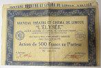 """1929 Nouveau Théatre Et Cinéma """"LElysée""""Limoux Action De 500Fr Au Porteur Poste Inclus/Europe état - Cinéma & Théatre"""