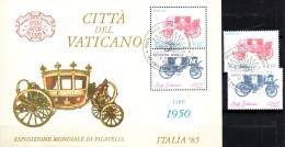 Rom EXPO Italia 1985 Vatikan 880/1,ZD+Block 8 O 8€ Postkutsche Bloque Hojita Hb Bloc M/s Philatelic Se-tenant Bf Vatican - Vaticano (Ciudad Del)
