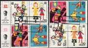 Emblem Der UNESCO 1970 Uruguay 1191/4 VB Plus Block IV Mit Zierfeld 4+3 O 8€ UNICEF Kinderzeichnungen, Tag Des Kindes - Uruguay