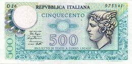 ITALIA 500 LIRE  1974/1979 P-94 Mercurio Vedi Scan - [ 1] …-1946 : Regno