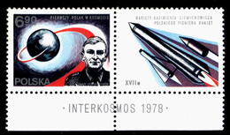 POLAND 1978 (NO DATE LABEL TYPE 8 VARIETY) 1ST POLE IN SPACE COSMOS INTERKOSMOS MNH Flight Space Travel - Ongebruikt