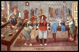 ALTE POSTKARTE L´ESSAYAGE VERMENSCHLICHTE KATZEN KATZE CAT Chats Humanized Cats Tailleur Schneider Dressmaker Anprobe AK - Animali Abbigliati