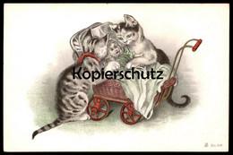 ALTE POSTKARTEN KATZEN VERMENSCHLICHT Kinderwagen Kind Puppe Doll Child Enfant Katze Cat Chat Cats Chats Pram Poussette - Animali Abbigliati