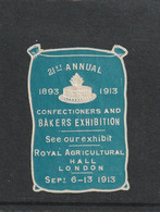 GB 1913 EMBOSSED POSTER LABEL FOR THE CONFECTIONERS & BAKERS EXHIBITION, LONDON.. - Cinderellas