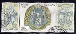 VATICANO 1982 LUCA DELLA ROBBIA SERIE COMPLETA TIMBRATA TRITTICO UNITO - Vaticano (Ciudad Del)