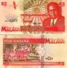Malawi 5 Kwacha 1995 P 30 Zebra Boat *UNCIRCULATED BankNote - Malawi