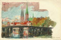 AK Lübeck Ortsansicht Künstler Kley Farblitho 1908 #23 - Kley