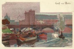 AK Berlin Alsen-Brücke Farblitho Kley ~1900 #13 - Kley