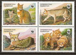 Tajikistan 2002 Reed Cat Wwf 4v  MNH** - W.W.F.