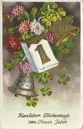 AK Neujahr New Year Kalender 1 Glocken Gold Prägung 1939 #100 - Nouvel An