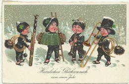 AK Neujahr New Year Kinder Schornsteinfeger Musik Color 1928 #18 - Neujahr