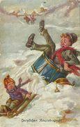 AK Neujahr Junge Auf Schlitten Musiker Color ~1910 #04 - New Year