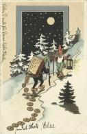 AK Neujahr Zwerg Laterne Goldmünzen Mond Sterne 1902 #09 - Anno Nuovo