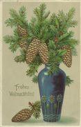 AK Weihnachten / Christmas Zweig Vase Gold-Prägedruck 1912 #22 - Noël