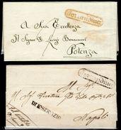 Ferrandina-4 - Due Pieghi, Uno Con Testo Del 8 Febbraio 1857 - - 1. ...-1850 Prefilatelia