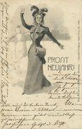 AK Neujahr Frau Mit Muff & Schneemann Litho 1900 #02 - Anno Nuovo