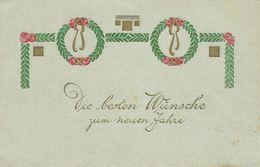 AK Neujahr Zierschleife Präge- & Golddruck Color 1906 #05 - Anno Nuovo
