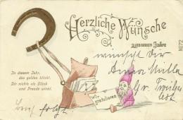 AK Neujahr Zwerg Hufeisen Präge-AK 1902 #08 - Nieuwjaar