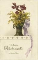 AK Neujahr Blumenstrauß Gold- Prägedruck ~1905 #10 - New Year