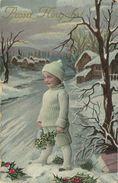 AK Neujahr Kind Wollkleidung Mistel Stechpalme Color 1914 #101 - Neujahr