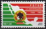 Syndicat Des Personnels Du Service Public Mexicain.  Un T-p Neuf ** 1993 (carte Du Mexique) - Mexico