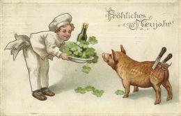 AK Neujahr Koch Schwein Messer Prägung Farblitho 1908 #24 - Año Nuevo
